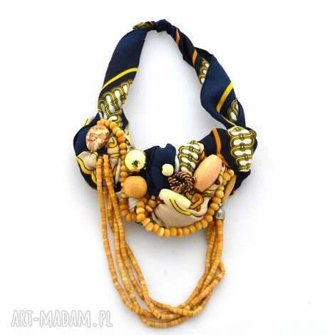 midnight blue naszyjnik handmade - naszyjnik, kolia, łańcuch, granatowy, złoty