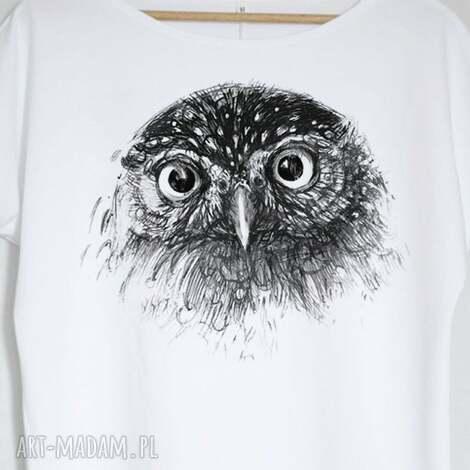 8dd7cdb2cd33d6 sowa bluzka bawełniana oversize s/m biała, bluzka, koszulka, sowa, pójdźka