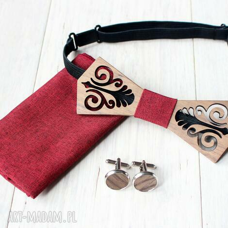zestaw drewniana muszka poszetka spinki folk czerwony, muszka
