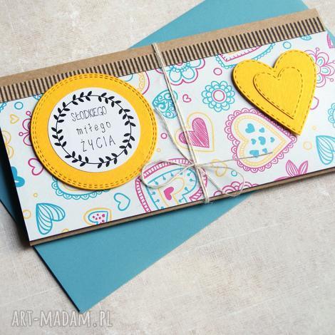 kartki kartka - kopertówka słodkiego miłego życia, urodziny, ślub, imieniny