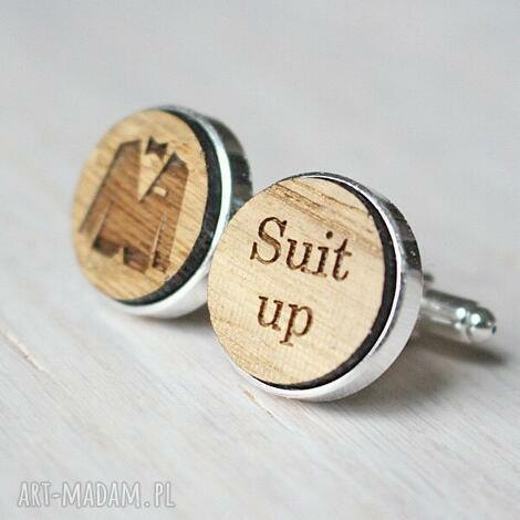 drewniane spinki do mankietów suit up - drewniane, spinki, suit up, garnitur