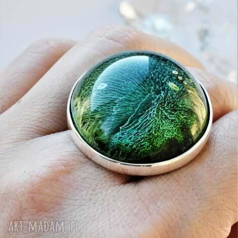 pierścień z galaktyką, żywica, galaktyka, duży pierścień, srebro, regulowana