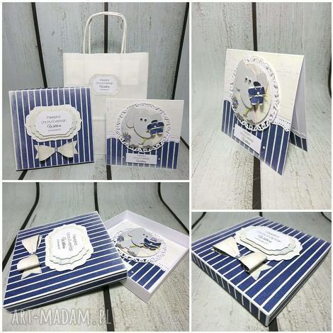 scrapbooking kartki zestaw w marynarskim stylu ze słoniem, chrzest, urodziny, komunia