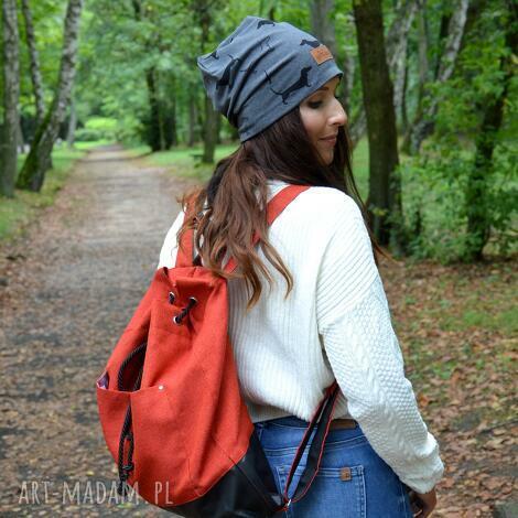 wegański plecak pomarańczka worek pojemny, plecak, worek