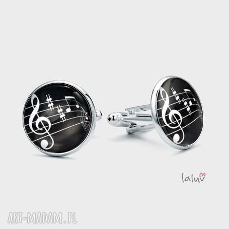 spinki do mankietów klucz wiolinowy muzyka, pięciolinia, nuty, metrum muzyk