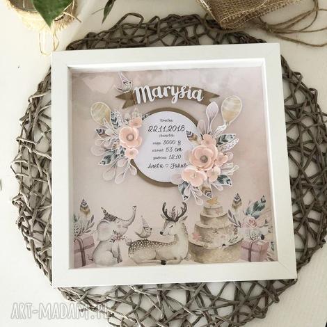 wyjątkowa romantyczna metryczka w różu, prezent, urodziny, kwiaty chrzest