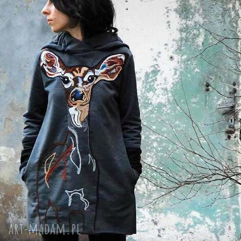 bluza z sarenką - sarenka, zwierzę, bawełna, kaptur, kieszenie, filcowana