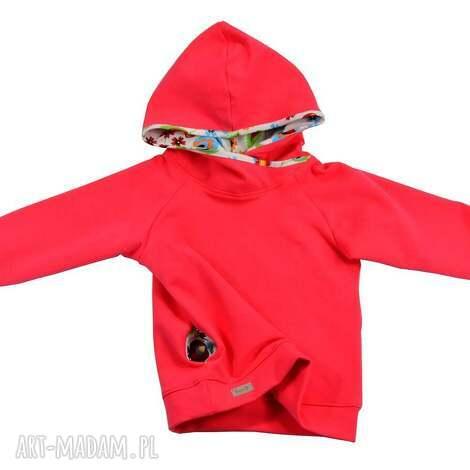koralowa bluza z kapturem i kieszonkami, bawełniana dla dziewczynki, rozmiary