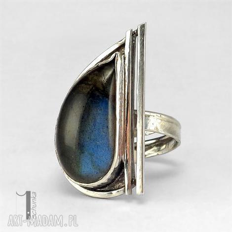 skyline srebrny pierścionek z labradorytem, pierścionek, srebrny, regulowany
