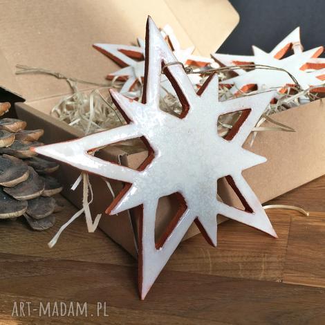 ceramiczne gwiazdy na choinkę, święta, choinka, prezent, gwiazdy, śnieg dom