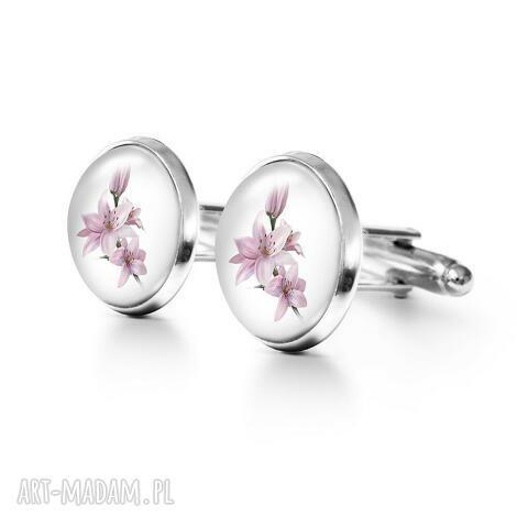 Yenoo, lilia - spinki do mankietów (spinki mankietów metalowe, kwiaty męskie, prezent)