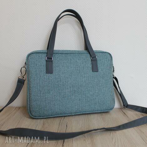 torba na laptop - tkanina w jodełkę aqua i skóra stalowa, elegancka, nowoczesna