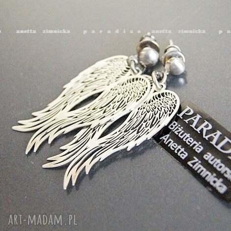 srebro, koczyki srebrne anioły - zawieszki, skrzydła, srebro, sztyfty