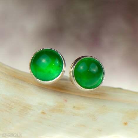 minimalistyczne srebrne sztyfty z zielonymi agatami d081, zielone sztyfty