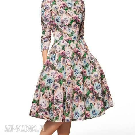 sukienki sukienka zuza midi violette, wizytowa, oryginalna, midi, koło, kwiaty