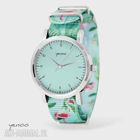 zegarek - simple elegance, turkus flamingi, nato, zegarek, bransoletka, nato