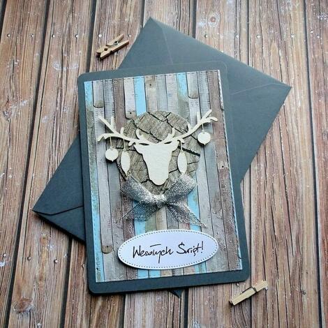 kartki świąteczne trio, święta, boże narodzenie, renifer, bombki, zima