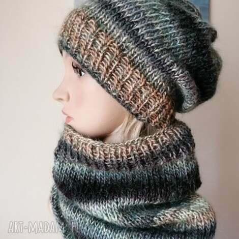 prezent na święta, mroźne piaski komplet, rękodzieło, bezszwowa czapka druta