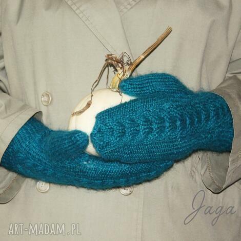 rękawiczki w kolorze turkusu, wełna, moher, turkusowe ciepłe