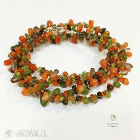 naszyjnik z kwarcem dymny, karneolem i peridotem cudowny na jesień - naszyjnik