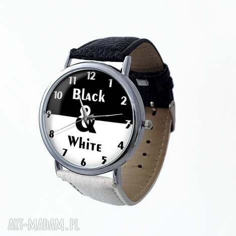 zegarki black white - skórzany zegarek z dużą tarczą, black, white, elegancki