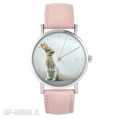 zegarek - zając pudrowy róż, skórzany, zegarek, pasek, zając, królik