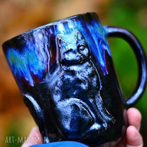 azulhorse handmade duży kubek ceramiczny z kotem galaxy 490 ml, ceramika