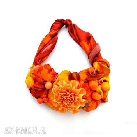 mandarin naszyjnik handmade - naszyjnik, żółty, pomarańczowy, kolorowy