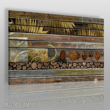 obraz na płótnie - drewno liście 120x80 cm 41601 , jesień, drewno, deski