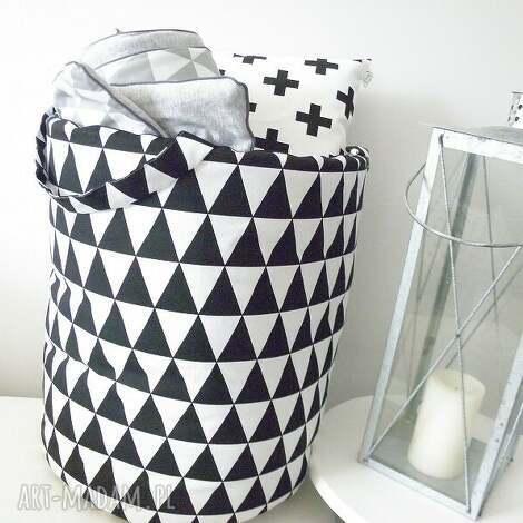 duży 50cm scandi kosz organizer - trójkąty czarne, kosz, pojemnik, organizer, pranie