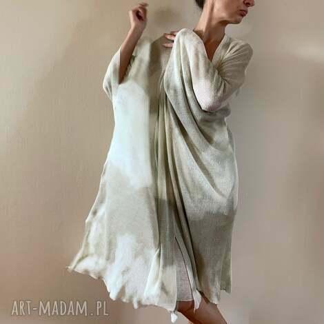 płaszcz kimono lniane cream taupe, kardigan, ponczo, len, luźne