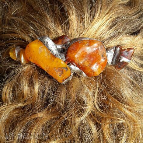 spinka do włosów bursztyn i karneol, spinka, amber, prezent, bursztyn, karneol