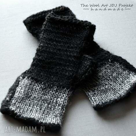 rękawiczki mitenki - rękawiczki, mitenki, wełna, naręce, czarne