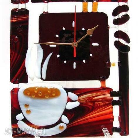 artystyczna kompozycja ze szkła - zegar kawa, szkło, zegary, fusing, dom