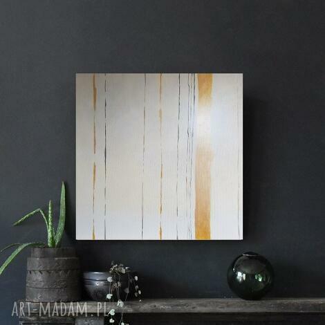 abstrakcja w bieli i złocie -obraz akrylowy formatu 60/60 cm, abstrakcja, obraz