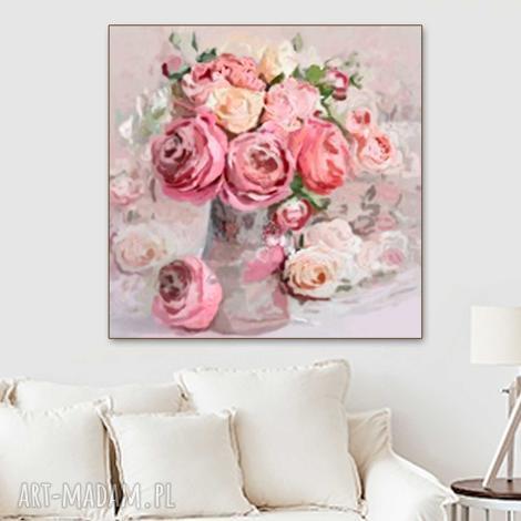 obraz na płótnie róże i piwonie, 60 x 60, kwiaty glamour, do salonu
