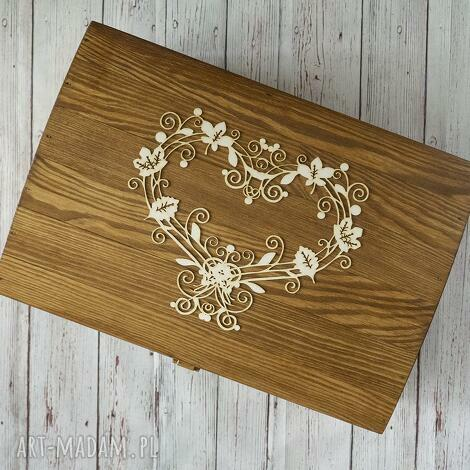albumy kufer na koperty - ażurowe serce, kufer, skrzynia, pudełko, drewno