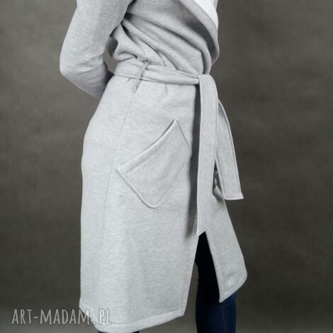 grey hood płaszcz dresowy szary z kapturem, kaptur, kieszenie, wiązany