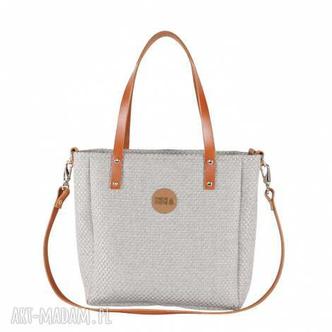 na ramię torebka cuboid plecionka jasna #karmel, elegancka, modna, pojemna, dla-niej