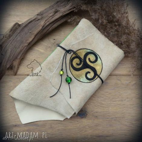 notes a6 ze skórzaną miękką okładką triskelion - ręcznie robiony i malowany, triskel