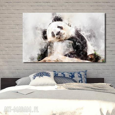 obraz duże panda 1 -120x70cm na płótnie szary biały czarny miś designe