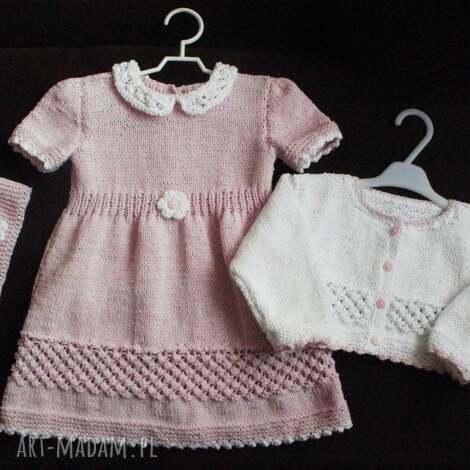 komplet bladoróżowy, rękodzieło, bawełna, sukienka, sweterek, komplet