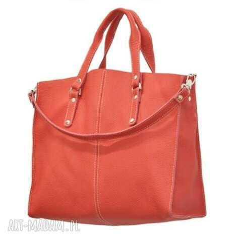 968b56aca48df 30-0003 czerwona torebka skórzana z paskiem i kontrastowymi przeszyciami  rook, modne
