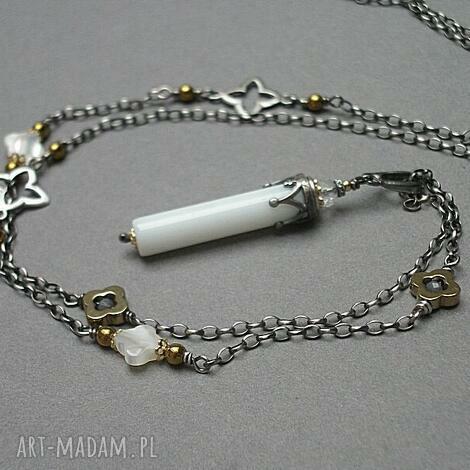 kolumna -agat - naszyjnik - srebro, oksydowane, agat, muszla, hematyty, metaloplastyka