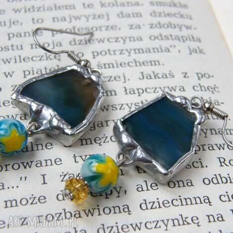 kolczyki z niebieskim agatem, agatu, wiszące, kontrastowe