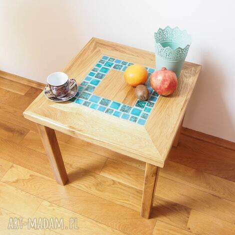 dębowy stolik kawowy, stół, stolik, ceramika dom