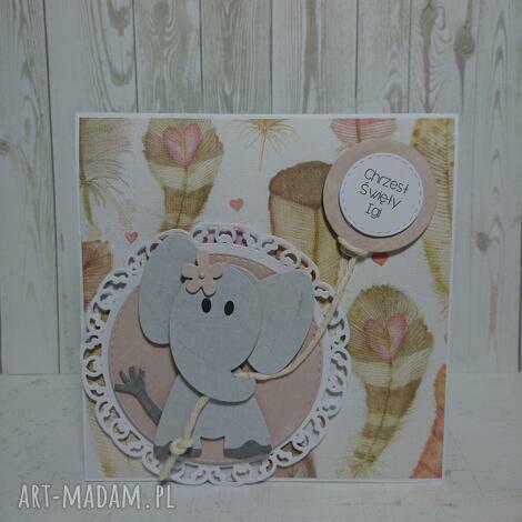 zaproszenie kartka slonik w piórach - urodziny, chrzest, narodziny, komunia, sesja