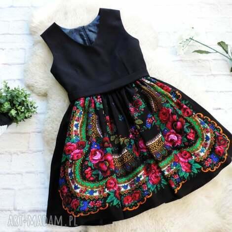 czarna sukienka folk z góralskiej chusty, sukienka, folk, folkowa, góralska, chusta