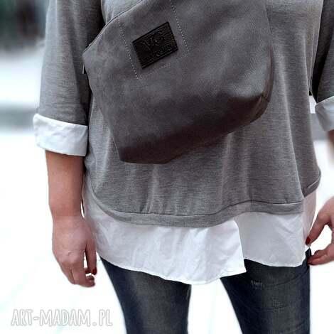 nerko-torba xl kolor szary/popiel gruby syntetyczny nubuk, nerka, torebka