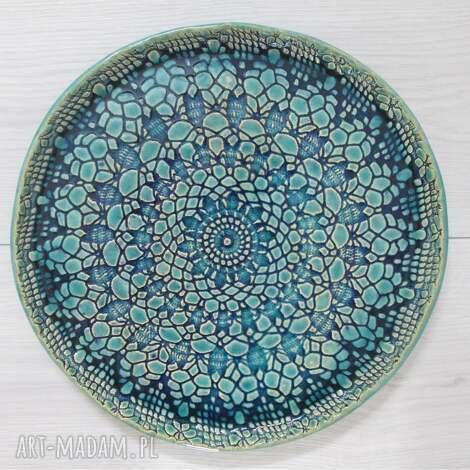 ceramika dekoracyjny talerz z koronką, ceramiczny, koronką
